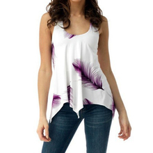 купить Women Sleeveless Blouse Feather Print Tops Summer Backless Vest Plus Size дешево