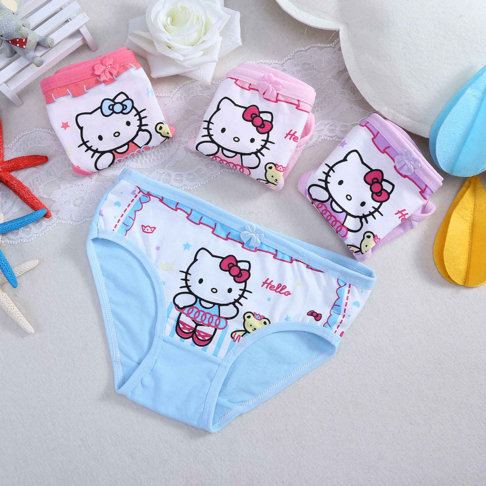 Mixed Colours Kitten Pattern Girls Cotton Pants Underwear Pack of 5