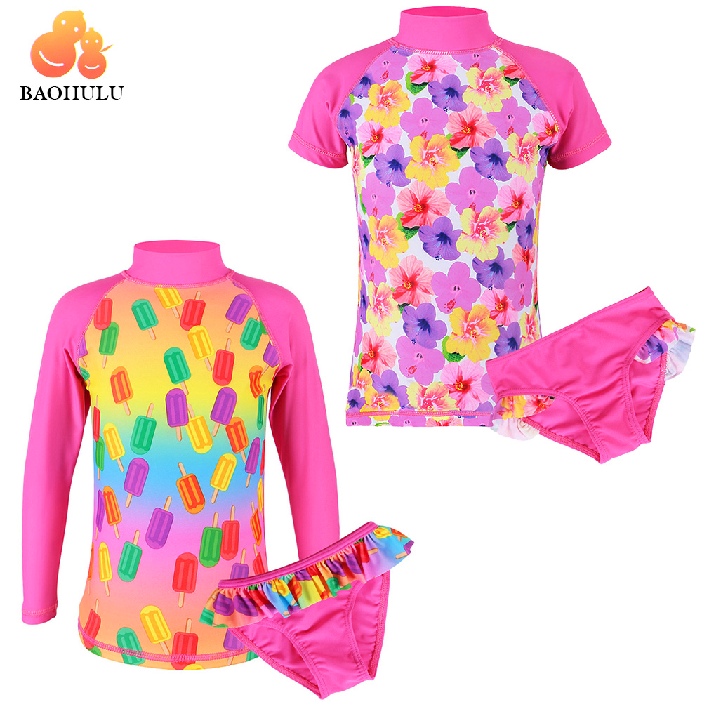 new children girls professional swim suit one piece kids sport swimwear costume rush guard bathing girl beachwear quick drying BAOHULU Summer Short Sleeve UV (UPF50+) Child Swimwear Girls Two Piece Swimsuit for Kids 2-12Y Swim Suit Beachwear Bathing Suit