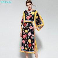 Newest 2017 Autumn Fashion Runway Dress Women S Flare Sleeve Casual Black Floral Print Mid Calf