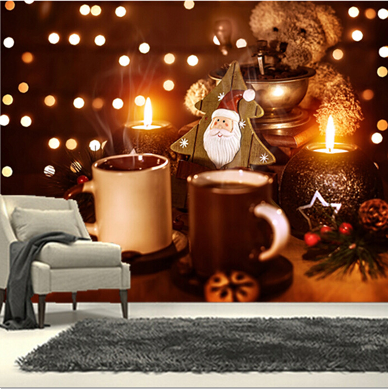 The custom 3D murals, 3D teddy bear Coffee Stemware Christmas wallpapers  ,cafe wall living room sofa TV wall bedroom wall paper custom 3d murals forests trees rays of light tree nature photo wall living room sofa tv wall bedroom restaurant wallpapers