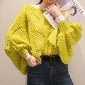 [Pronto su] 2016 otoño nueva Moda de Corea del cuello redondo de la Manga Del Batwing del color sólido flojo calado de tejer Camiseta mujeres KS1820