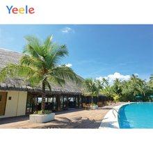 Фон для фотосъемки с изображением летней вечеринки и бассейна