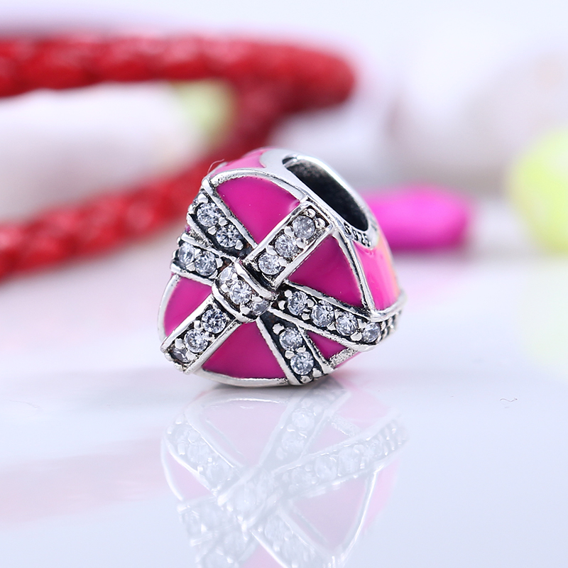Valentines Day 925 Sterling Silver Fit Original Pandora Bracelet Magenta Gift Of Love Charm DIY Charms Beads for Jewelry Making
