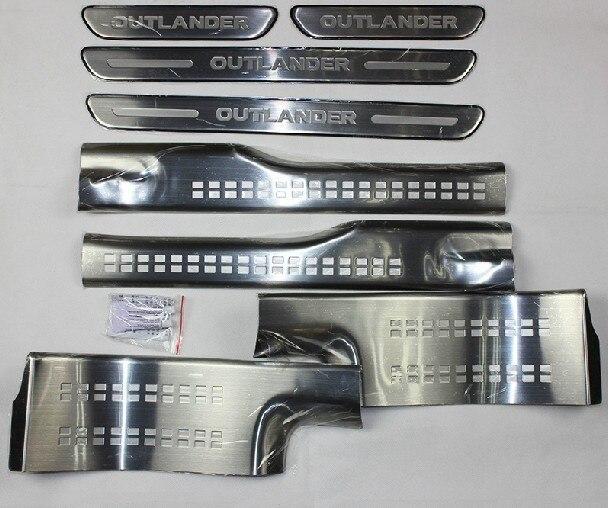 Accessoires internes de haute qualité de voiture de plat de seuil de porte externe d'acier inoxydable pour Mitsubishi Outlander samouraï 2013-2018