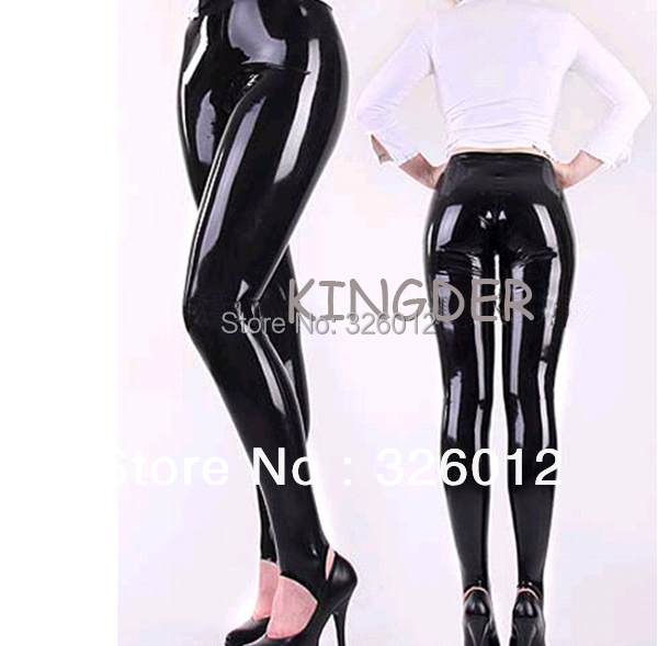 Black Latex Foot Tights Trousers Rubber Fetish Pants Close -1874
