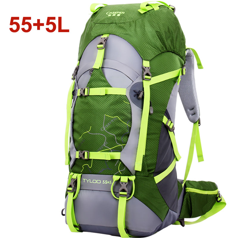 55+5L, Outdoor Sport Bag, Waterproof Outdoor mochila for Camping and Hiking 55+5 L ,with rain cover 70l professional outdoor sport bag mochila waterproof outdoor hiking bagpack with rain cover 80 27 38cm