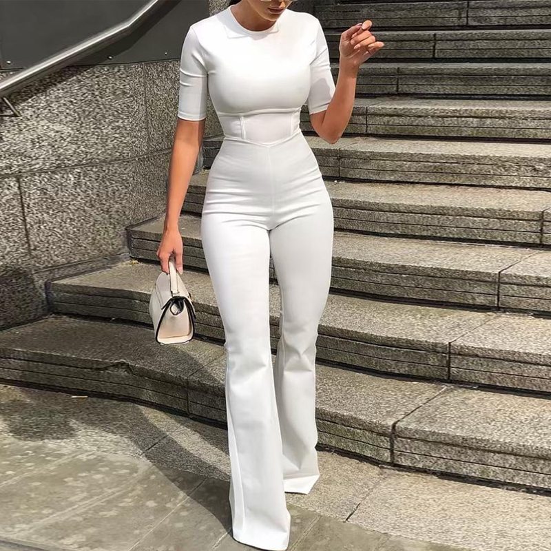 Summer Women Short Sleeve Bell-Bottom   Jumpsuit   Casual Skinny Solid O-neck Bodycon Slim Fit Street Wear Trends   Jumpsuits