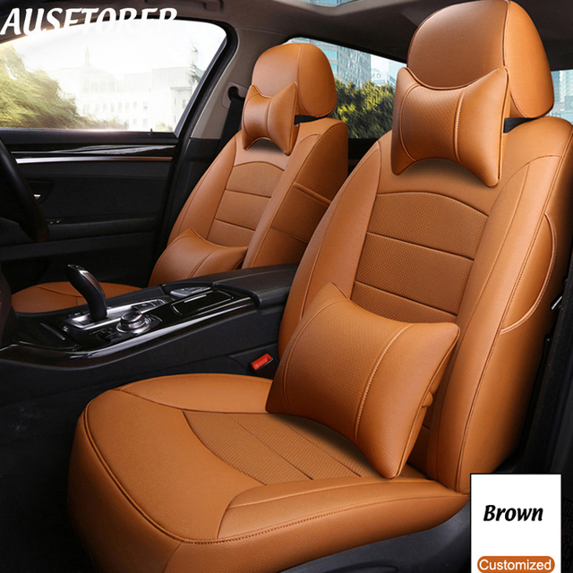 AUSFTORER Cowhide Automobiles Leather Seat Cover for Mitsubishi Outlander 5&7 Seats Covers Set Car Cushions Supports Accessories