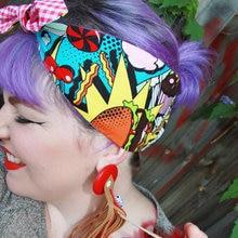 Винтажный 1950 s рокабилли пинап мультфильм печати бант на голову аксессуары, лента для волос провода гибкие шарфы аксессуары бандана Галстуки