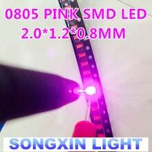 3000 pçs/lote, rosa Ultra Bright 0805 LEDs SMD 3V 20MA ROSA 2.0*1.2*0.8 MILÍMETROS SMD 0805 DIODOS de luz Alta