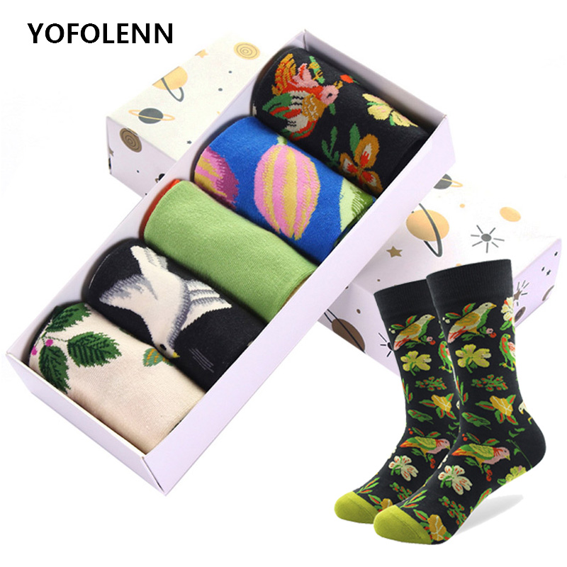 5 Pairs/lot Combed Cotton Brand Men's Happy Funny   Socks   for Men Colorful Cool Skateboard Novelty Casual Wedding   Sock   (No Box)