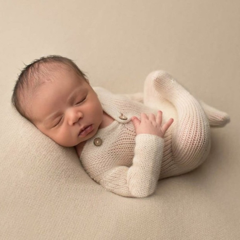 Newborn Baby Photography Props Knitted Costume Baby Accessories White Sweater Jumpsuits Baby Photo Prop Newborn Fotografia