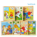 Funny Puzzle Wooden Spell Book Puzzle Toys Colorful 3D Story Books Learning Educational Toys