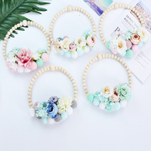 INS Nordic Style Wooden Beads Garland Hair Ball Flower Ring Ornaments Tent Wall Hanging Pendant Kids Room Decoration Photo Props