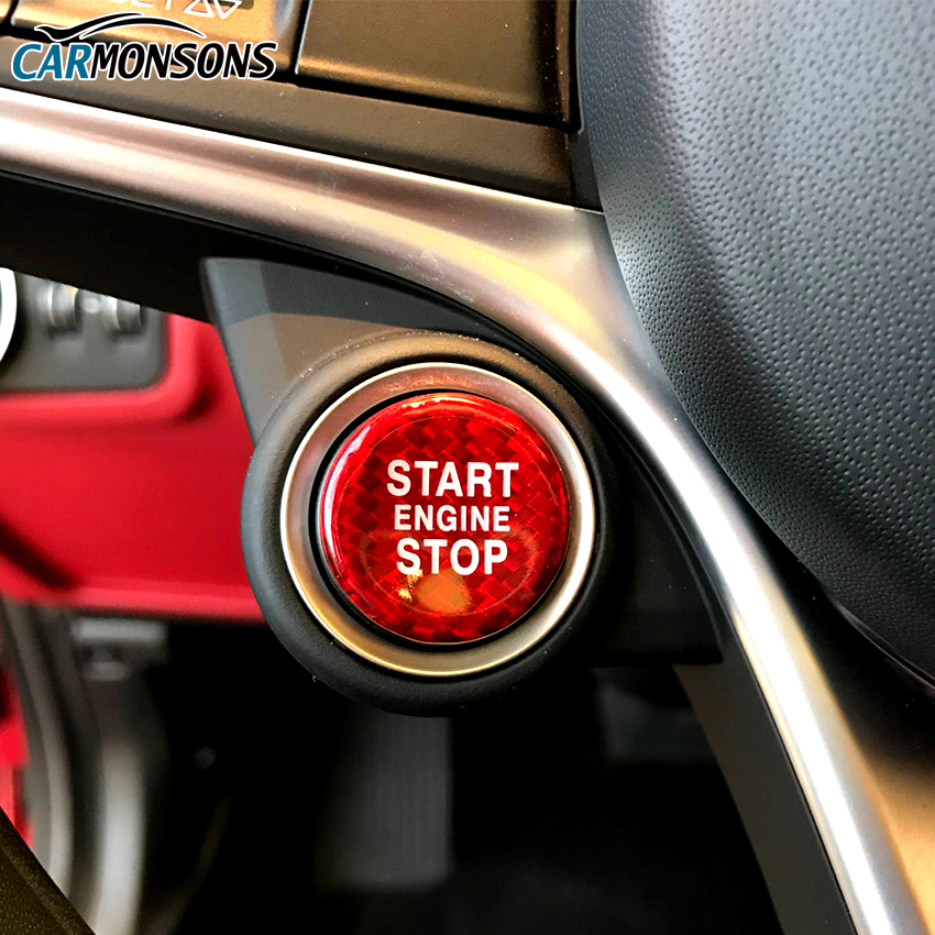 Carmonsons Real Carbon Fiber Engine Start Stop Button Stickers Trim Cover for Alfa Romeo Giulia Stelvio Accessories Car Styling easyguard pke car alarm system remote engine start stop shock sensor push button start stop window rise up automatically