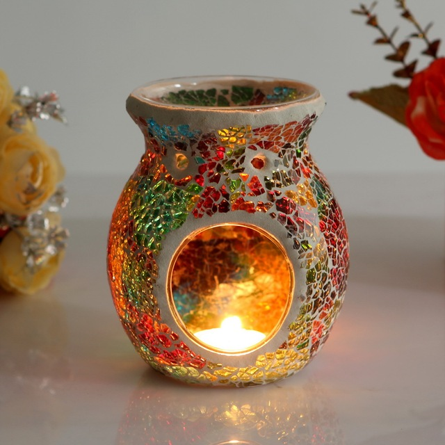 Mosaic Glass Candle Holder Incense Burner Oil Lamp Cafe Bar Home Table Decorative Candlestick Wedding Christmas Dinner Decor