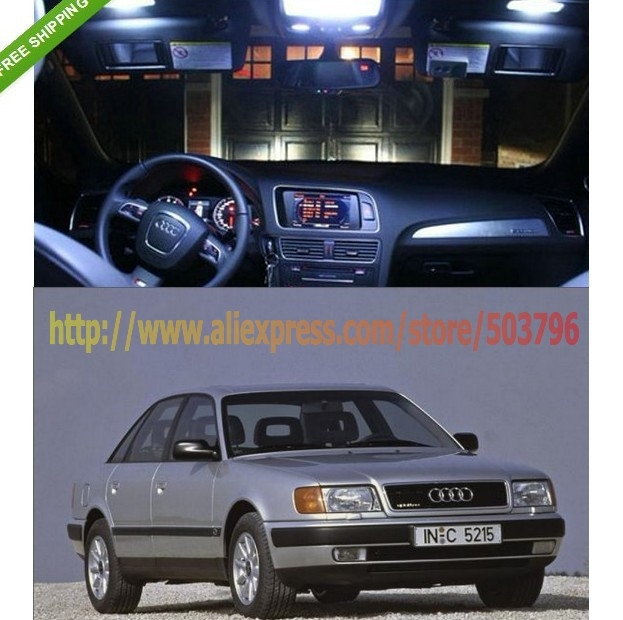 Free Shipping 7 PCS car-styling Error Free Canbus SET White LED SMD Interior Light KIT FOR Audi 100 A6 C4