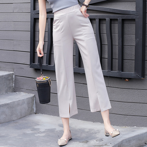 2018 Summer Spring Style Fashion Split Female   Pants     Capris   Casual Elastic   Pants   Temperament Classical Trousers For Women
