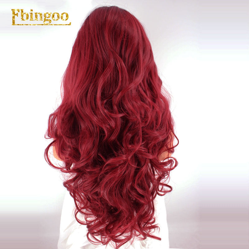 Ebingoo Hair Cap+Dark Roots Ombre Burgundy Long Body Wave Wavy Synthetic Lace Front Wig for Women with Middle Part-in Synthetic Lace Wigs from Hair Extensions & Wigs    2