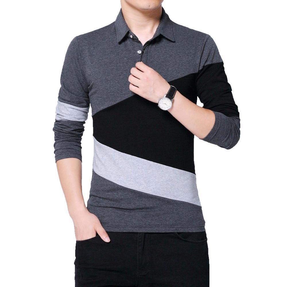 2019 Brand T Shirt Men Long T-shirt Turn-down Stripe Designer Slim Fit Loose Casual Cotton Male Plus Size 5XL