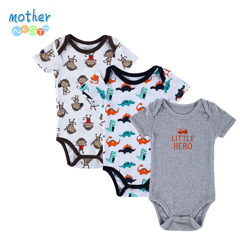 3 Pieces/lot Newborn Baby Romper Girls and Boys Short Sleeve Cotton Cartoon Printed Summer Clothing Set Next Jumpsuits & Rompers