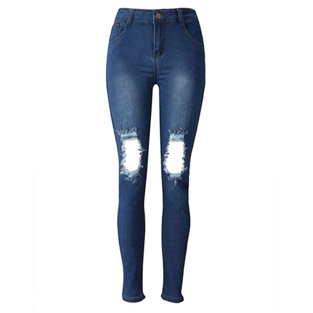 Holes Denim Jeans Casual Women High Waist Skinny Denim Jeans Slim Ripped Pencil Jeans Hole Pants Female Sexy Girls Trousers ripped jeans for women 2016 high waist woman skinny pencil pants sexy holes black ripped jeans slim elastic trousers for women