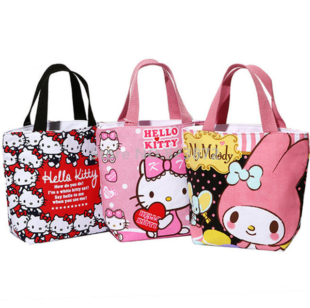 c3a027a8f6 Hello Kitty My Melody Tote Lunch Bag for Girls Cartoon Mini Small Lunch Box  Bags Zipper