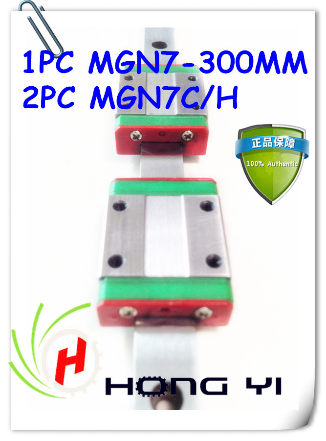 7mm guidages sur rail MGN7-L 300mm linéaire miniature CNC rail avec MGN7C/H chariot linéaire (1 pièces 200mm guidages sur rail + 2 pièces MGN7C/H)