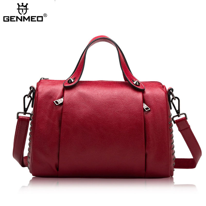 New Stylish Famous Brand Design Genuine Leather Handbags Women Cow Leather Shoulder Bags 2017 Ladies Messenger Bags Tote Bolsa 100% genuine leather women bags famous brand women messenger bags first layer cowhide shoulder bags women ladies handbags