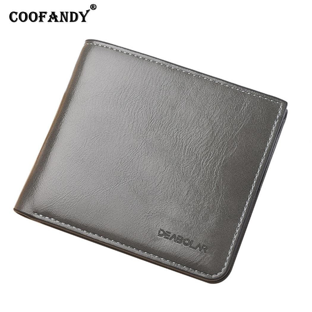 Men Casual Business Men Short Solid 8 card slots,1 Zip pocket,1 Banknote Position 2 Type Square Thin Wallet(China)