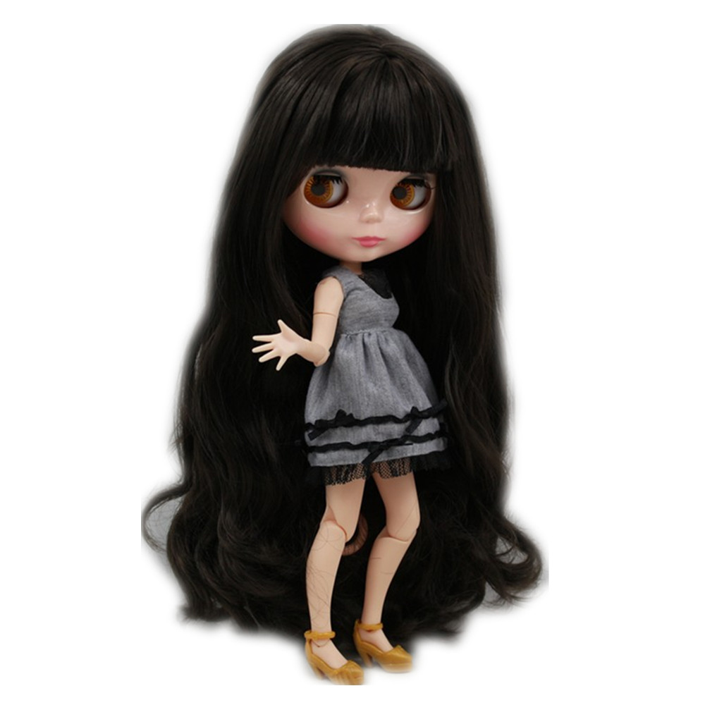 Blyth 30cm Nude Doll Black Long Wavy Hair With Bangs Joint Body Natural Skin 1/6 Icy Bjd Suitable For Diy No.300bl950 Toys & Hobbies