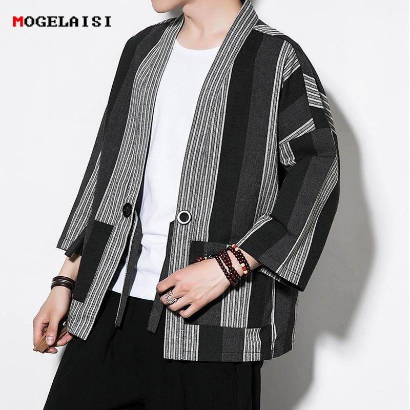 Linen Cotton Open Stitch Shirts Men Striped Chinese style three quarter sleeve men white color shirt pactchwork plus size 5XL