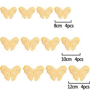 Image 4 - 12 sztuk/zestaw 3D naklejki ścienne motyl wytłaczany papier naklejki motyle na ślub urodziny domu pokój diy deco Baby Shower Supplie