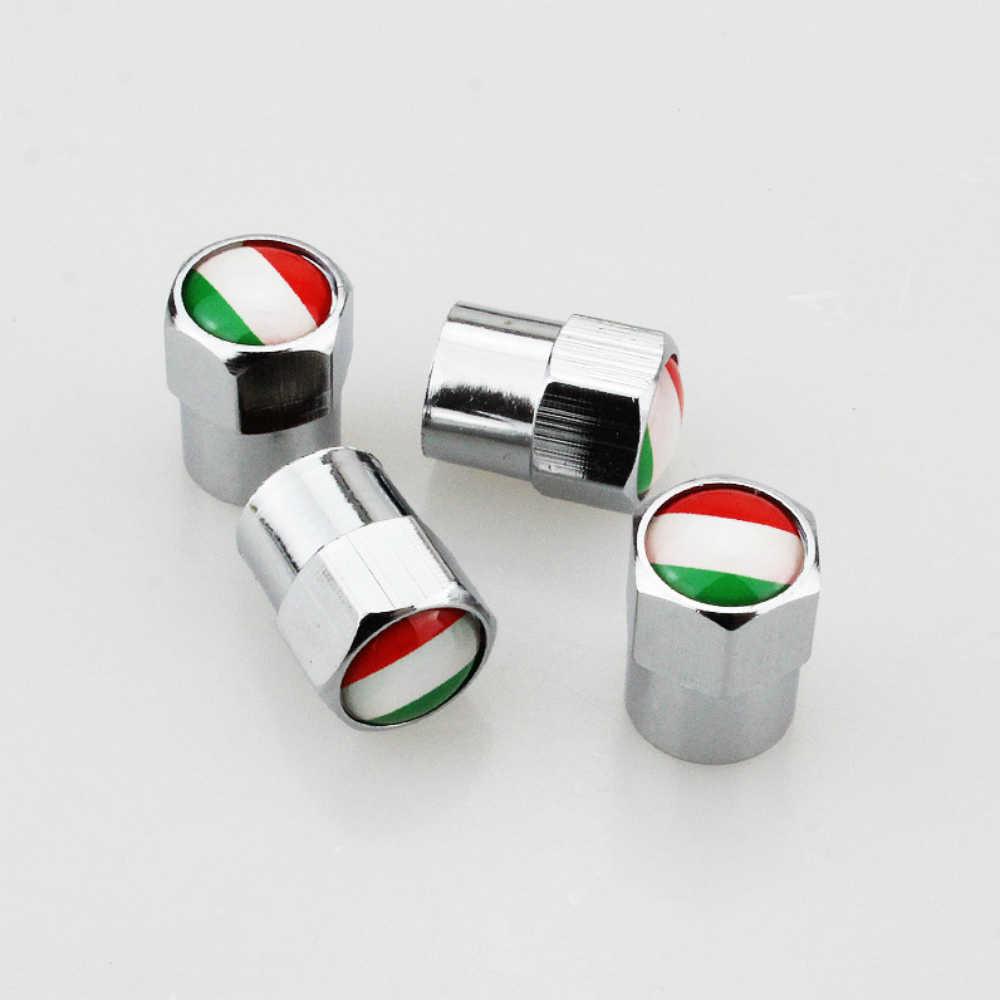 4 X Bendera Italia Logo Logam Roda Ban Tutup Katup Penutup Mobil Dekorasi Aksesoris untuk Fiat 500 Abarth 500X 5000L panda