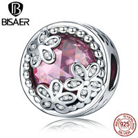 Genuine 925 Sterling Silver Radiant Heart Elegant Flowers Pure Pink Glass Charm Charms Fit Original Pandora
