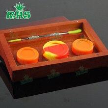 17 ml Holz Wachs Silizium Glas Set mit Konzentrat Tupfen Ölsilikonbehälter, Silicon Pad und Tupfen Werkzeug
