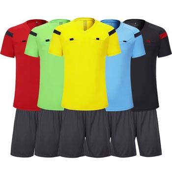 Shinestone koszulka piłkarska profesjonalne męskie dla sędziego piłkarskiego jednolite tajskie sędzia jersey zestawy z krótkimi spodenkami sędzia piłkarski dresy tanie i dobre opinie Poliester Pasuje prawda na wymiar weź swój normalny rozmiar Mens Football Referee Uniforms As Shown S M L XL 2XL 3XL