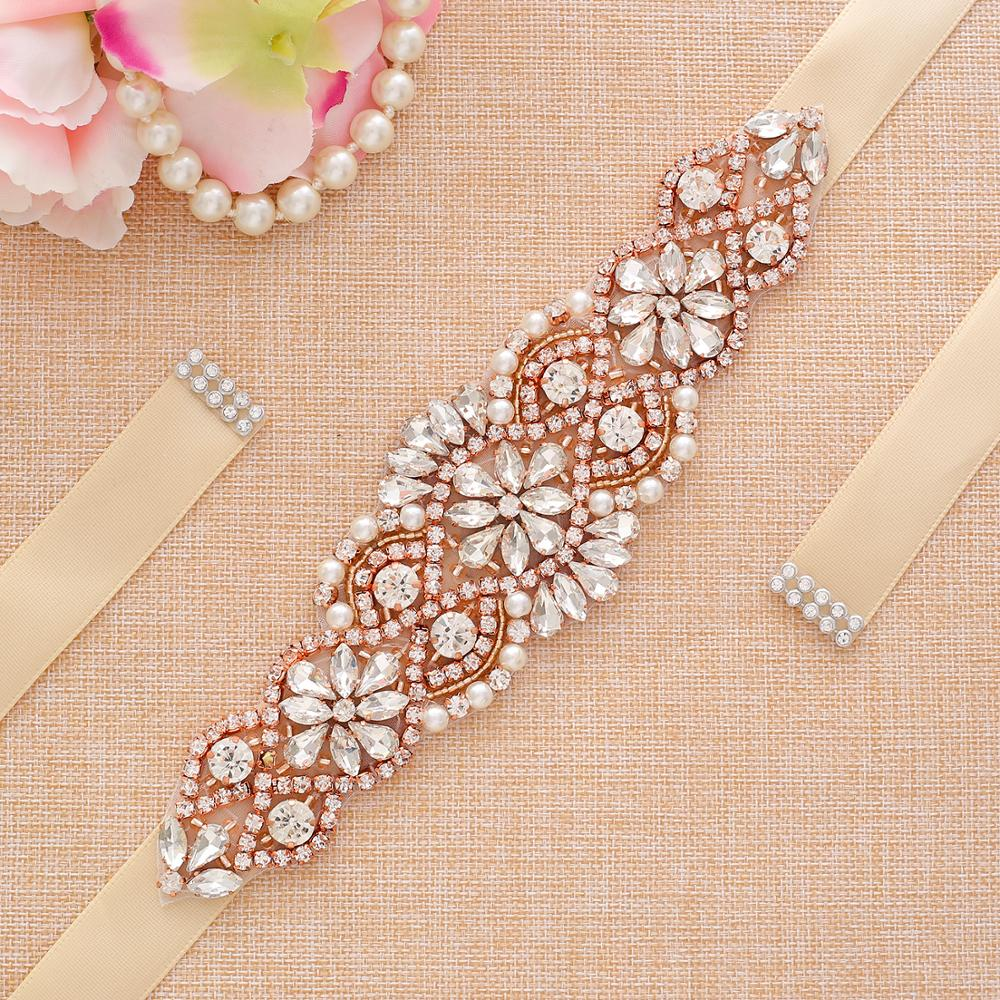 Pearl Rhinestone Wedding Belt Rose Gold Handmade Crystal Bride Dress Belt For Wedding Dress Accessories A104RG