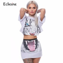 2019 Summer Exquisite printing Fashion Casual women two piece outfits Short Sleeves Womens Sets Crop Top shorts club