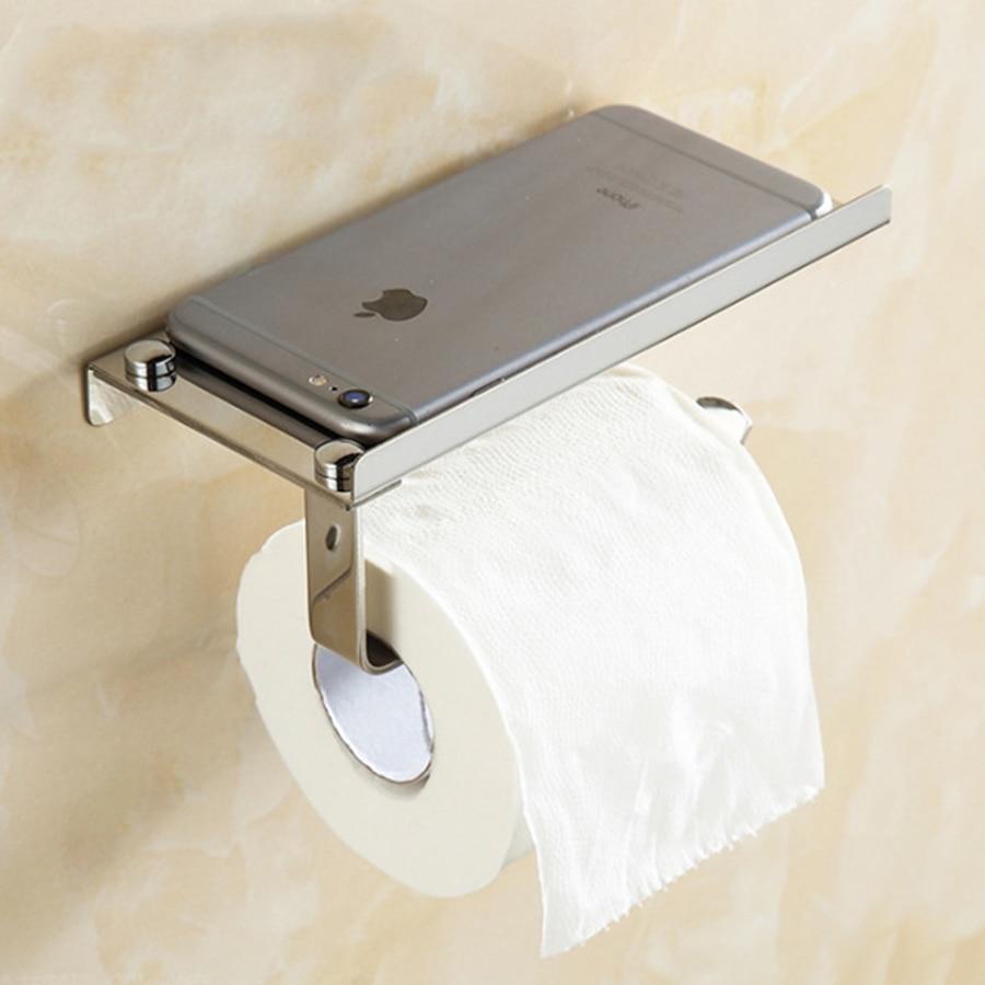 Maxswan Stainless Steel Bathroom Paper Holder With Shelf Bathroom Phones Towel Rack Toilet Paper