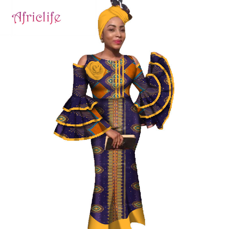 African Big Ruffle Sleeve Top and Skirts Sets for Women Bazin Riche Traditional African Women Clothing 2 Pieces Skirt Set WY2779