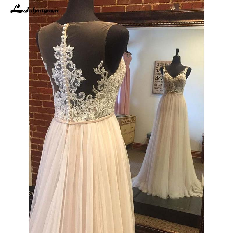 Sexy Boho Wedding Dresses A line Lace Appliqued Top Tulle Skirt Summer Beach Wedding Dresses Long