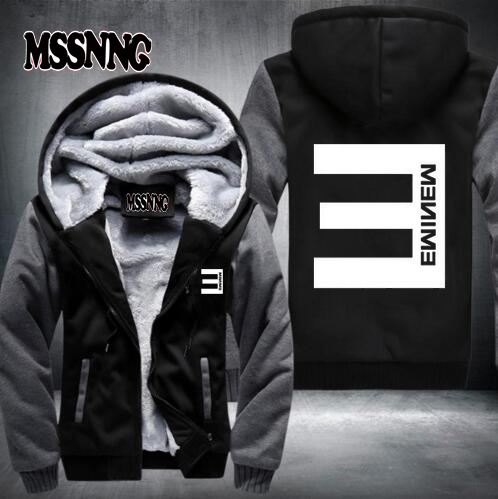 2017 New Winter Mens Thick Hoodies Eminem Hip Hop Punk Rock Rap Rock Hip Hop Tracksuit Thick Velvet Sweatshirt USA size