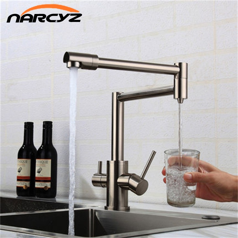 Water purifier Kitchen faucet Black Nickel Hot and Cold kitchen universal pull straight drink pure dual