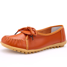 2017 Women Shoes Flat 100% Authentic Leather Round toe Lace up Ladies Shoes Flats Woman Moccasins Female Footwear