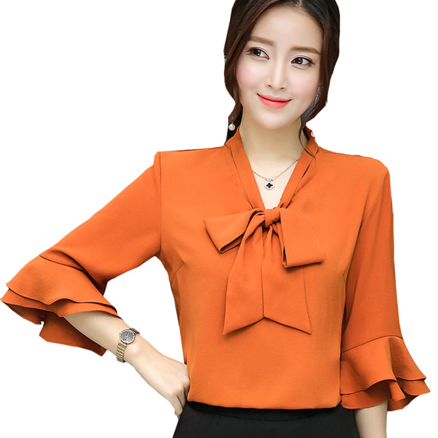 0ea8fa22832 Bow Deor Lady Chiffon Blouses Plus Size S-4XL Butterfly Sleeve Tops 2017  Elegant Women Casual White Shirts