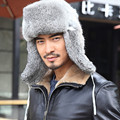 Russian Men Rabbit Hat Men's Outdoor Leifeng Cap Winter Super Warm Thick Rabbit Fur Hats With Ear Flaps Solid Bomber Caps H#63