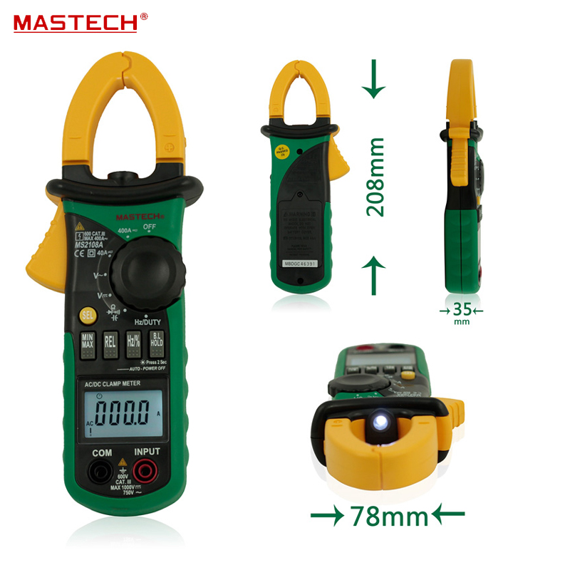 6600 Counts True RMS AC DC Digital Clamp Meter Multimeter Capacitance Frequency Inrush Current Tester MASTECH MS2108 mastech ms2138 ac dc digital clamp meter 1000a multimeter electrical current 4000 counts voltage tester