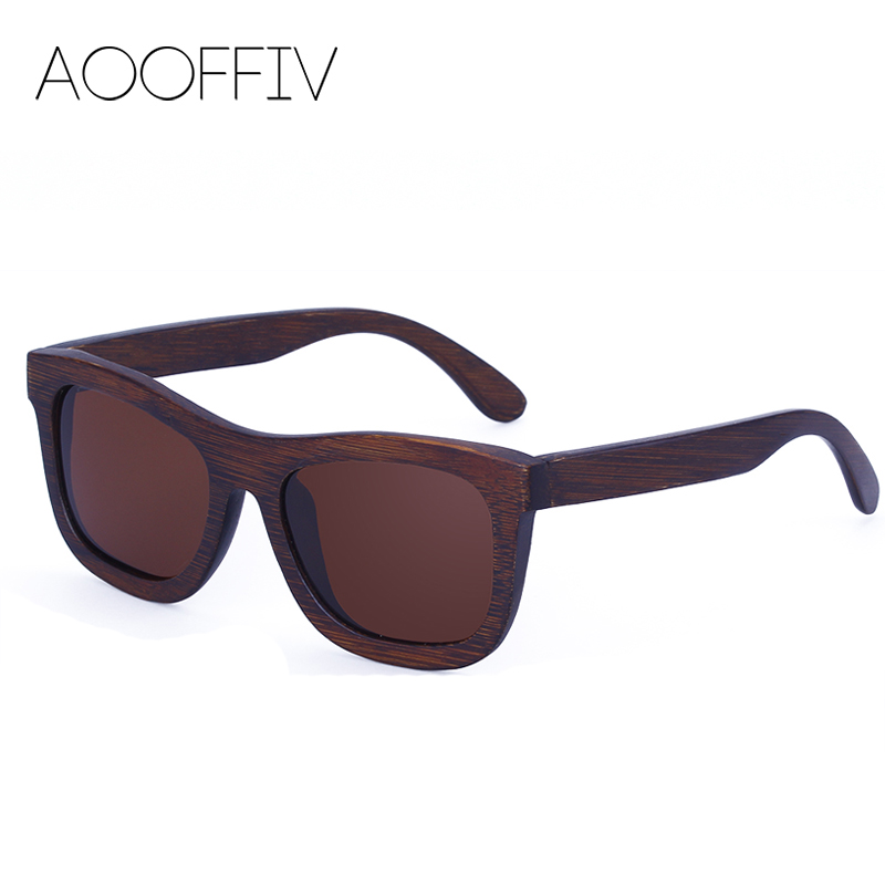 AOOFFIV Wood Sunglasses Women Polarized Lens Sun Glasses Bamboo Frame Eyewear 2017 New Designer Shades UV400